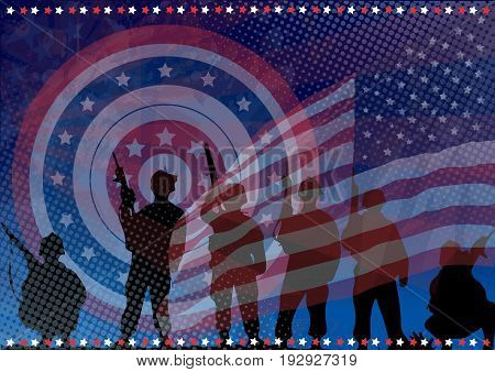 The armed forces of the United States. Defenders of America. The shield of Captain America. Flag of the United States.