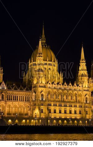 Parliament of Hungary in the night capital of the country Budapest