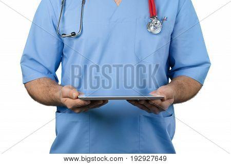 Doctor working pc work tablet tablet pc digital tablet