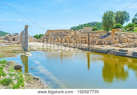 The view of flooded part of Agora of ancient Patara Turkey