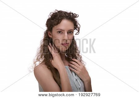 portrait of odd woman isolated on white background