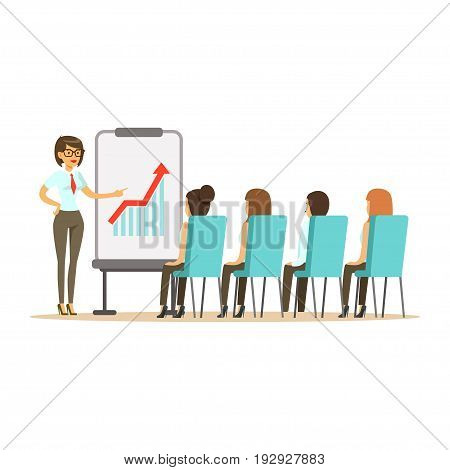 Businesswoman pointing at a whiteboard with growth graph at a business meeting in an office vector Illustration isolated on a white background