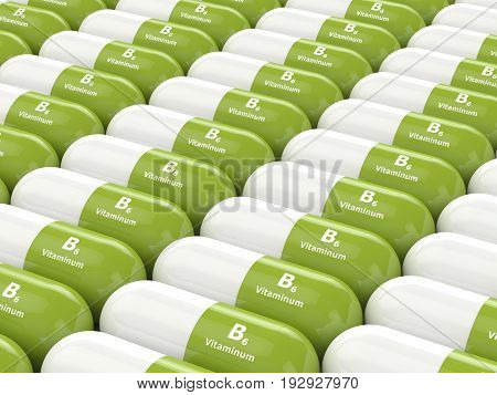 3D Render Of  Vitamin B6 Pills In Row