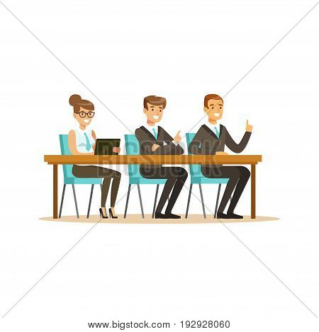Business people attending and listening at conference, seminar, lecture or training vector Illustration isolated on a white background