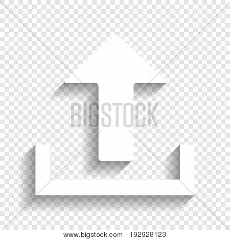 Upload sign illustration. Vector. White icon with soft shadow on transparent background.