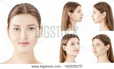 set of profile and front portraits of young woman isolated on the white background. cosmetology