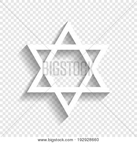 Shield Magen David Star. Symbol of Israel. Vector. White icon with soft shadow on transparent background.