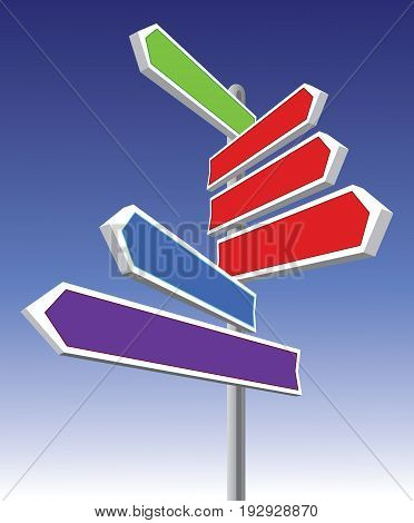 Signs pointing different directions and colors direction, concepts,