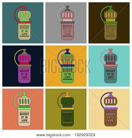 Set of Icons in flat design Sports bottle
