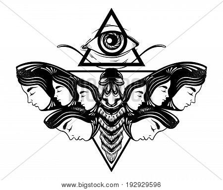 Vector hand drawn illustration of moth with female faces on the wings. All seeing eye pyramid symbol. Tattoo art. Template for card poster banner print for t-shirt.