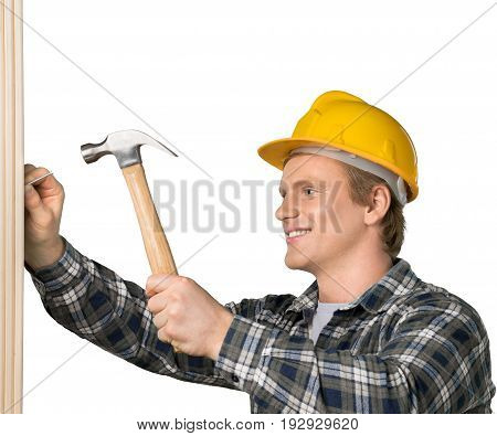Man hand helmet hammer foreman white background