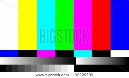 No Signal TV retro television test pattern. Color RGB Bars Illustration.