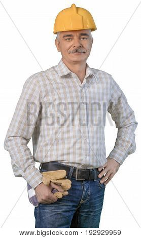 Male builder grey hair looking at camera white background isolated