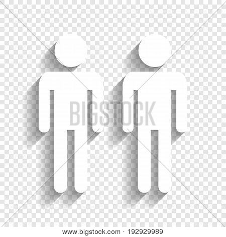 Gay family sign. Vector. White icon with soft shadow on transparent background.