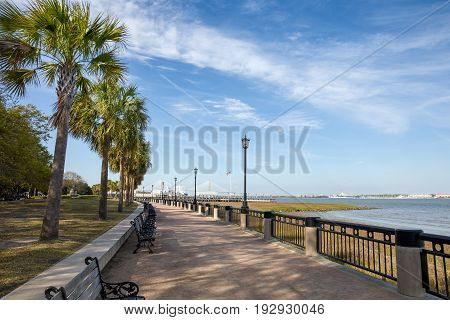 View of Waterfront Park in Charleston SC. Plenty of copy space in the sky if needed.