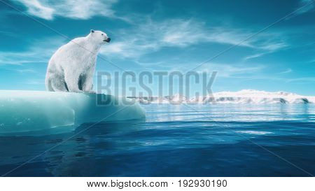 Polar bear on a piece of glacier. This is a 3d render illustration