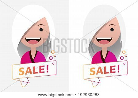 Vector Sale ribbon banner sign with female avatar. Emblem logo badge. Color gradient. Flat material design. Template for citybanner website design cover. White background. Illustration. Eps10.