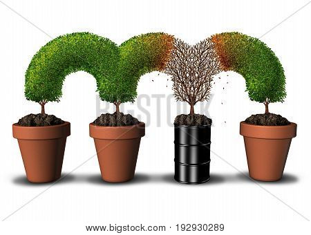 Contaminated environment concept with pollution and toxic contaminant in the soil as a dead tree segment growing in a a petroleum oil can or dangerous chemical barrel killing nature with 3D illustration elements.