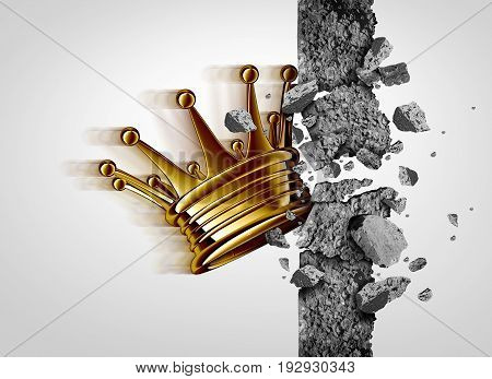 Breakthrough leadership business concept as a king crown breaking through a cement wall as a success and strong leader metaphor with 3D illustration elements.