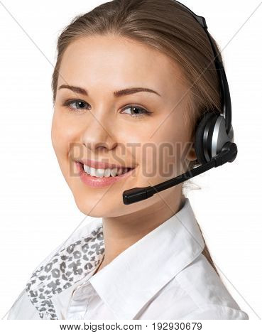 Beautiful business woman headset ear garniture white background