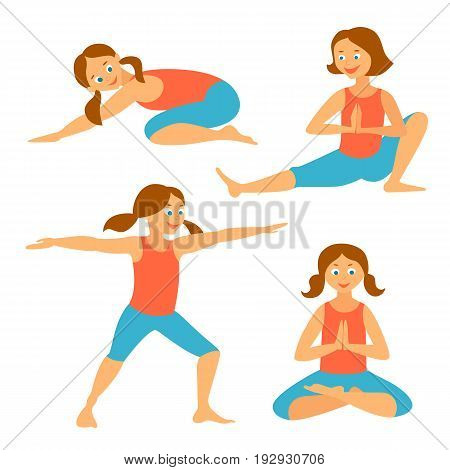 Yoga kids set.Vector illustration. Yoga Asanas. Exercises for a healthy health.  Balasana, virabhadrasana 2, padmasana.