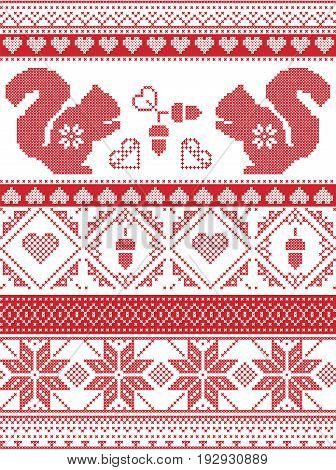 Scandinavian and Norwegian Christmas culture inspired festive winter pattern in cross stitch with squirrel, acorn, love heart , snowflake, square tiles  ornaments in red and white