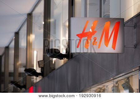 Bologna Italy 1 May 2017 - the H&M logo on the store sign of Bologna
