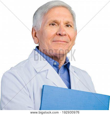 Doctor uniform senior folder doc grey hair senior man