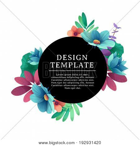 Black round banner with the place for text. Card for individual invitation with flower and herb. Promotion poster with summer plants, leaves and flowers decoration on white background. Vect