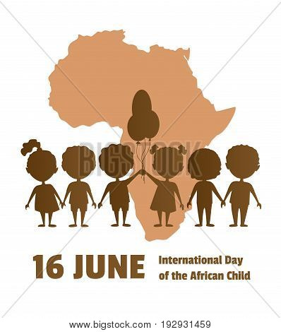 International Day of the African Child.16 June.African children on a background map of the African continent.Silhouettes of children.