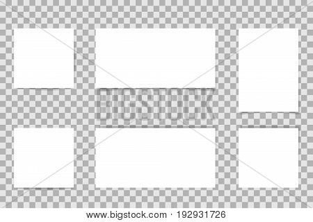 Vector notepapers paper sheets illustration set on transparent background.