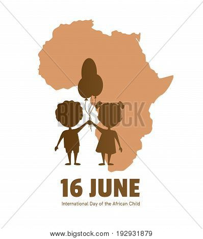 International Day of the African Child.16 June.African children on a background map of the African continent.