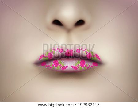 Beautiful pink lips with liberty flowers as make up