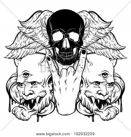 Vector hand drawn illustration of rock hand with human skull with wings and devil. Tattoo artwork. Template for card poster bunner print for t-shirt.