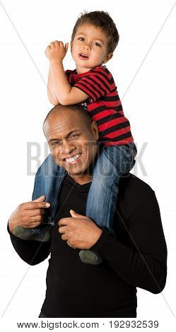 Son father piggyback looking at camera white background isolated