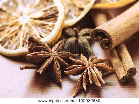 background Cinnamon Orange star Anise star anise Food Products