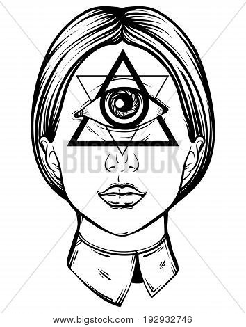 Vector hand drawn illustration of cyclops. Tattoo hand sketched artwork. All seeing eye pyramid symbol. Template for card poster banner print for t-shirt.