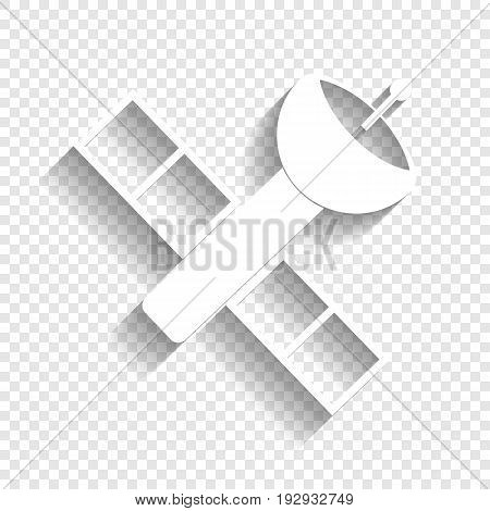 Satellite sign illustration. Vector. White icon with soft shadow on transparent background.