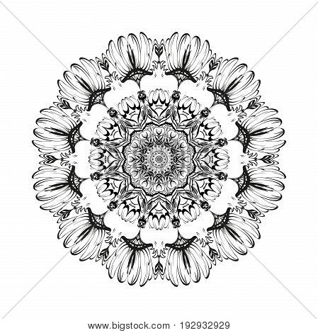 Flower fruit monochrome botanical vector mandala of ripe pomegranate is isolated on a white background. Decorative element with east motives for design. Version of the page for coloring