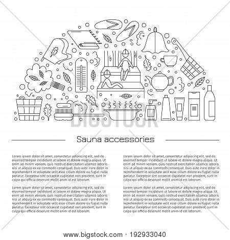 Poster. Accessories for sauna and bath. Vector illustration. Line style.