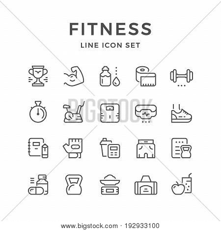 Set line icons of fitness isolated on white. Vector illustration