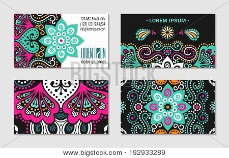 Indian style horizontal colorful ornate visiting card set. Ornamental blanks with ethnic motifs. Oriental design concept. EPS 10 vector illustration. Clipping masks.