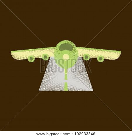 Flat Icon in Shading Style airplane runway