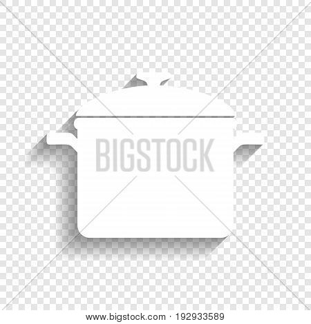 Cooking pan sign. Vector. White icon with soft shadow on transparent background.