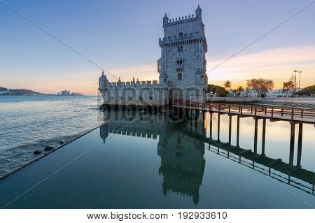 Old medieval tower Belem on the river Tagus. Lisbon. Portugal.