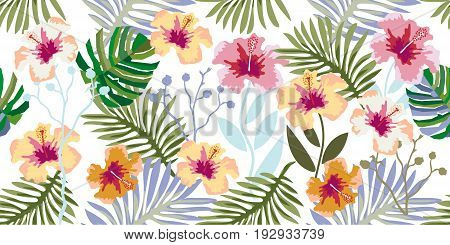 Seamless vector pattern with palm leaves and hibiscus flowers on white background. Vintage motifs. Beach textile collection.