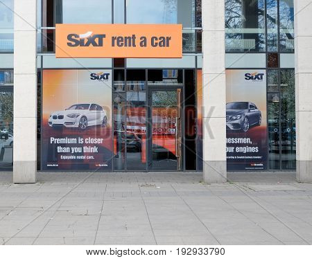 GOTHENBURG SWEDEN - MAY 2017: SIXT rental car office at the Central Train Station in Gothenburg Sweden.