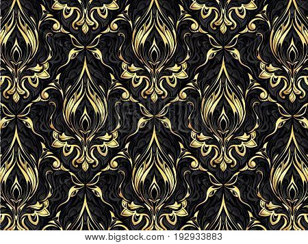 Gold abstract pattern. Floral colorful background. Vintage texture.