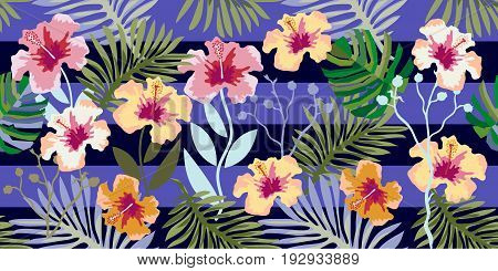 Seamless vector pattern with palm leaves and hibiscus flowers on dark blue background. Vintage motifs. Beach textile collection.
