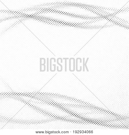 Distorted halftone dot modern pop-art layout. Grain graphic dust particle forming swoosh smooth pop art waves. Vector illustration